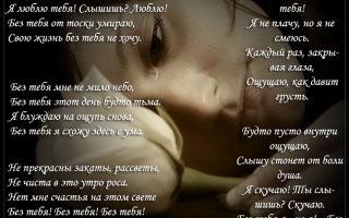 Красивые короткие стихи скучаю по тебе любимой девушке, женщине